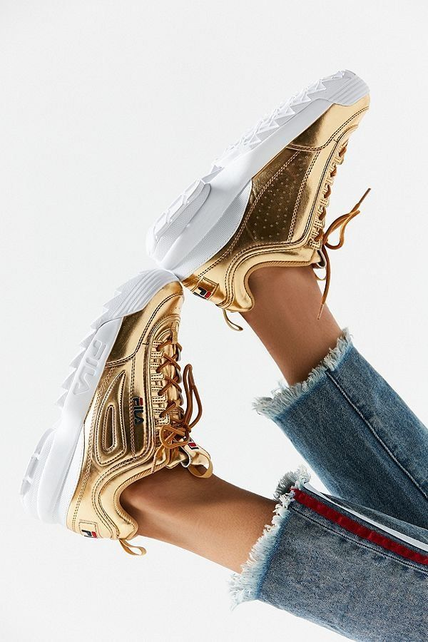7b9c369d9c8 FILA Disruptor II Metallic Sneaker | Shoes Shoes Shoes | Metallic sneakers, Gold  trainers, Fila disruptors