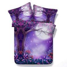 3D conjuntos de cachecol Roxo flor rainha cama cheia super king tamanho colchas de solteiro roupa de cama colcha capa de edredão folha dupla 5 pcs(China (Mainland))