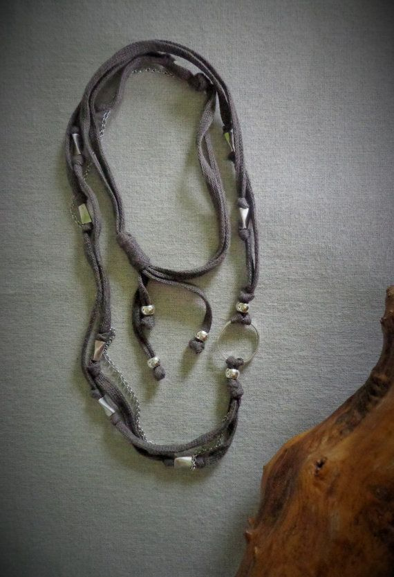 Versatile cotton necklace Long or double by EvisHandmadeJewels