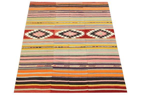 Organic Kilim Rug 83 x 58 Feet Traditional Kilim by kilimwarehouse