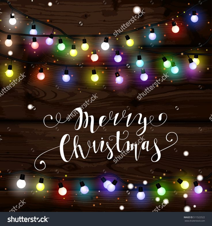 Christmas lights poster with shining and glowing garlands on wooden background Lettering Merry Christmas. Web banner vector illustration