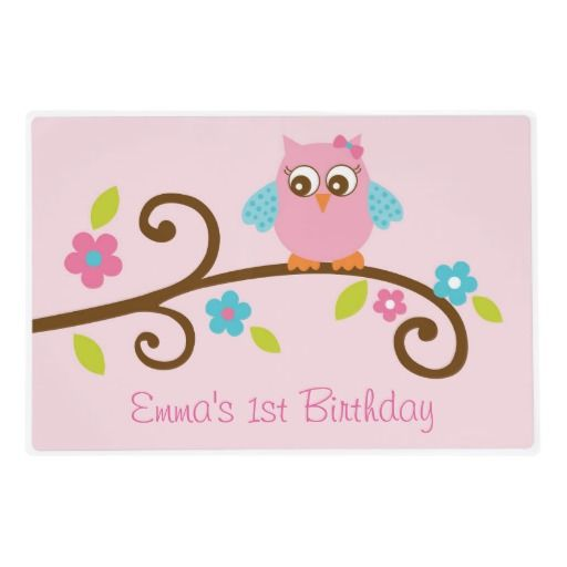 Shop Girl Owl Placemat created by LittlePrintsParties. Find this Pin and more on Personalized Baby Shower \u0026 Birthday Paper Plates ...  sc 1 st  Pinterest & 78 best Personalized Baby Shower \u0026 Birthday Paper Plates images on ...