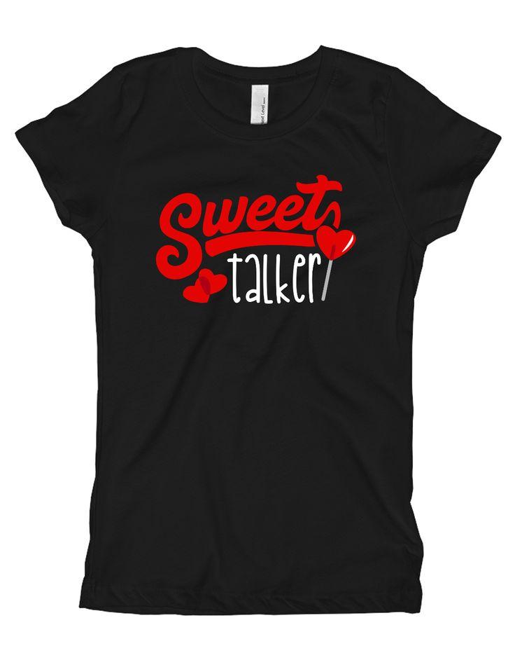 Girls Sweet Talker Valentines Day Shirt Black
