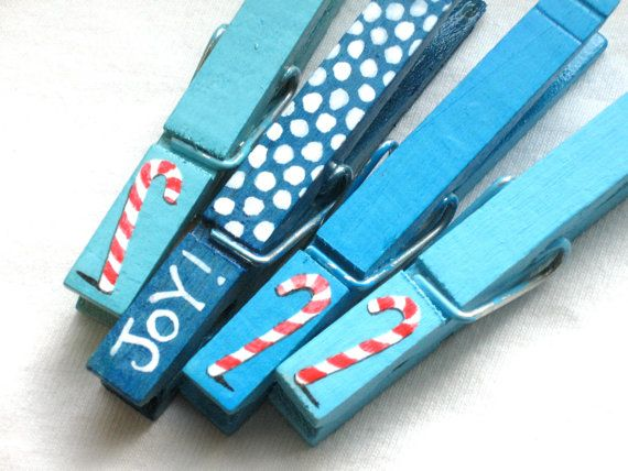 CANDY CANE CLOTHESPINS turquoise Christmas by SugarAndPaint