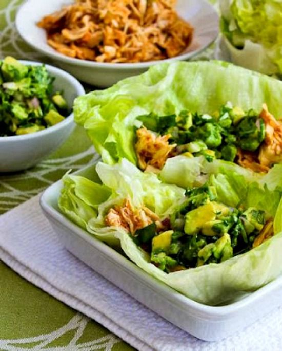 Slow Cooker Spicy Shredded Chicken Lettuce Wrap Tacos with Avocado Salsa  found on KalynsKitchen.com
