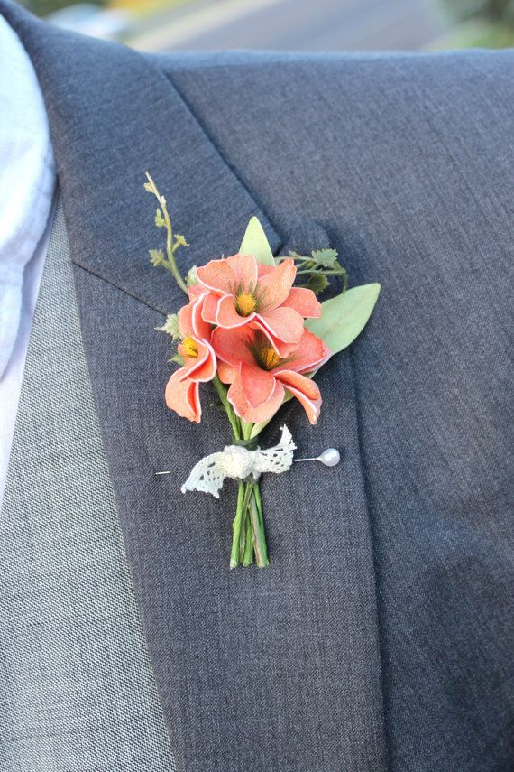 coral boutonniere, coral and lace, peach boutonniere by LavenderLark
