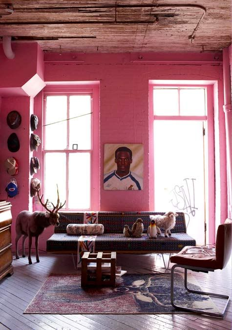 Pink-coated brick is an unexpected color choice for this Brooklyn loft, but it's the perfect mood-lifting shade in David Alhadeff's home. (From Sneak Peek: Best of Pinks and Reds) #sneakpeek #pink #red
