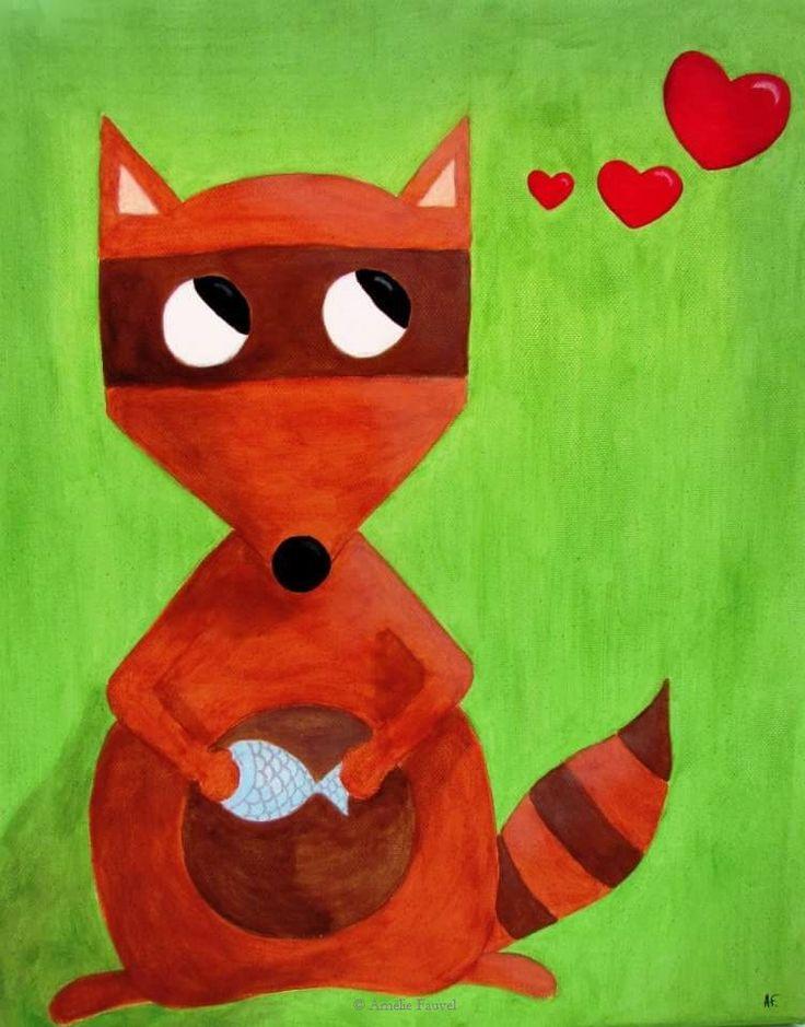 """""""L'admirateur secret"""" - peinture à l'acrylique sur toile en coton"""