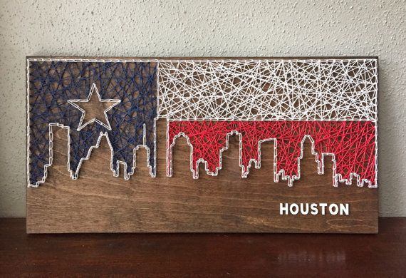 Houston Skyline String Art by CactusCustomDesigns on Etsy