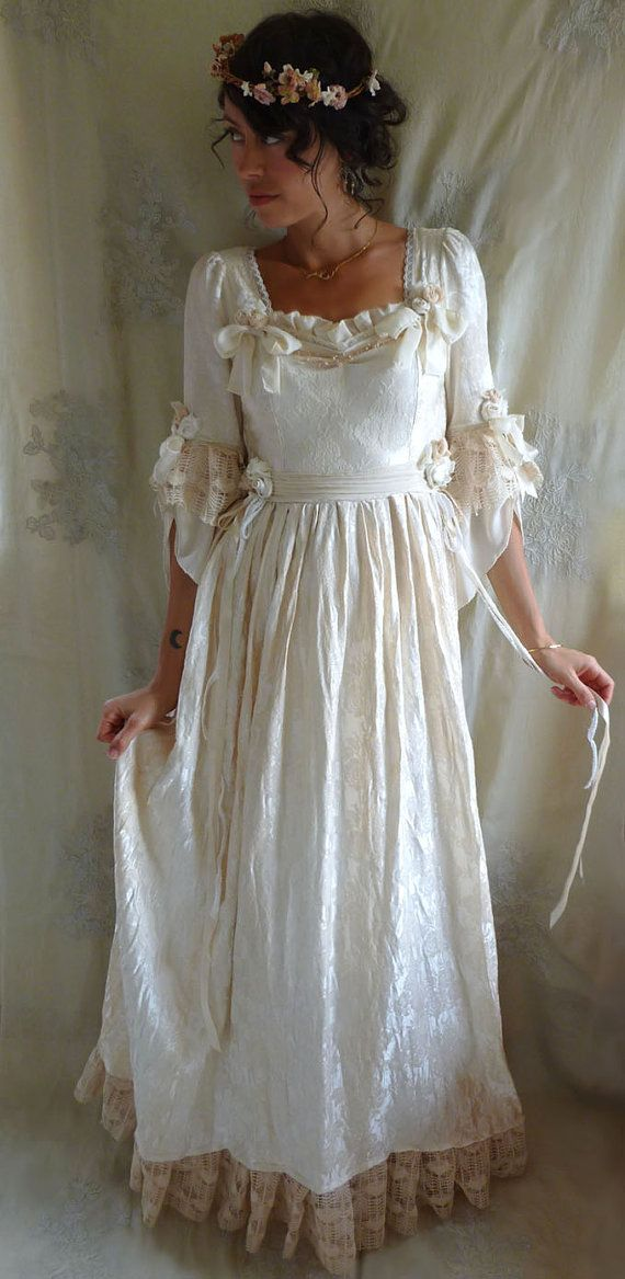RESERVED Rococo Fairy Tale Wedding Gown... Size S/M... dress whimsical marie antoinette costume boho shabby chic formal floral tea stain