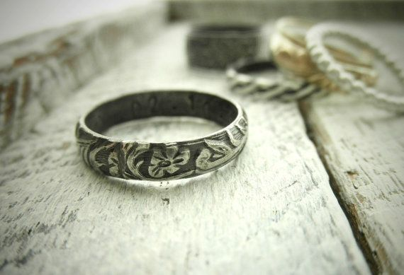 Classic Vine Pattern Ring w Secret Message- Personalized Silver Ring w Delicate Classic Pattern