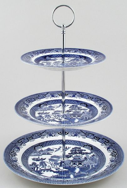 Churchill China Blue Willow Cake Stand  Tier