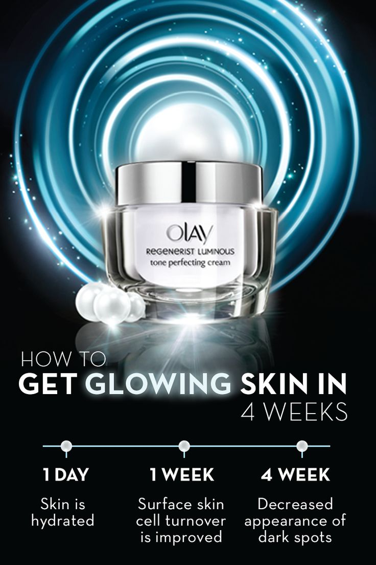 Get glowing skin in 4 weeks with Olay Regenerist Luminous Moisturizer. Upon first use, your skin is hydrated and begins to illuminate surface skin cells. After 7 days, surface skin cell turnover is improved and texture is evened. After 4 weeks, the appearance of dark spots is decreased and skin is left with a vibrant, youthful glow. Reveal the natural, pearlescent glow of your skin with Olay Regenerist Luminous today.