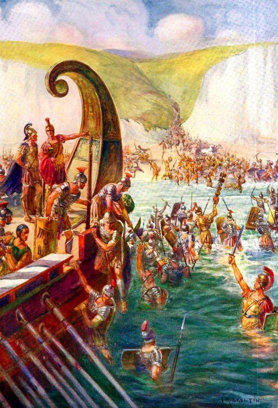 Roman legion landing in Britain
