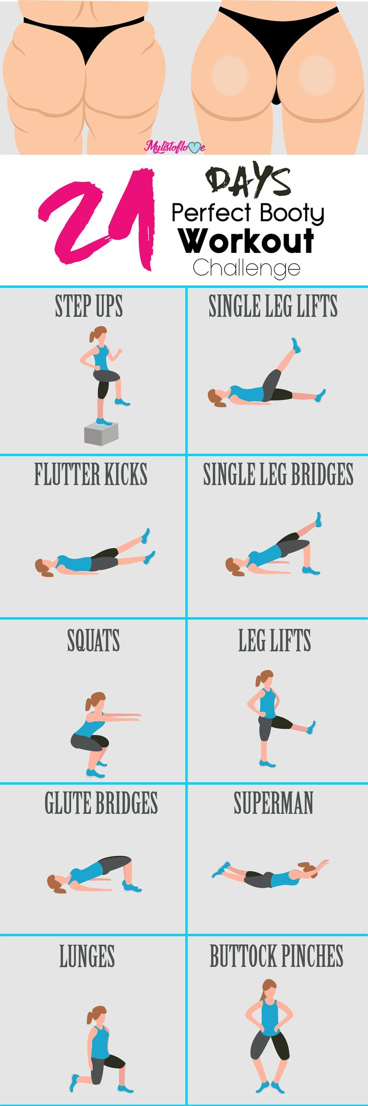 21 Days Perfect Booty Workout Challenge....