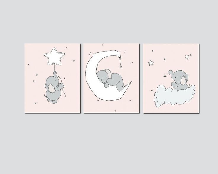 SET OF 3 -  Elephant Moon And Stars -  Pink & Grey -  by Sweet Melody Designs