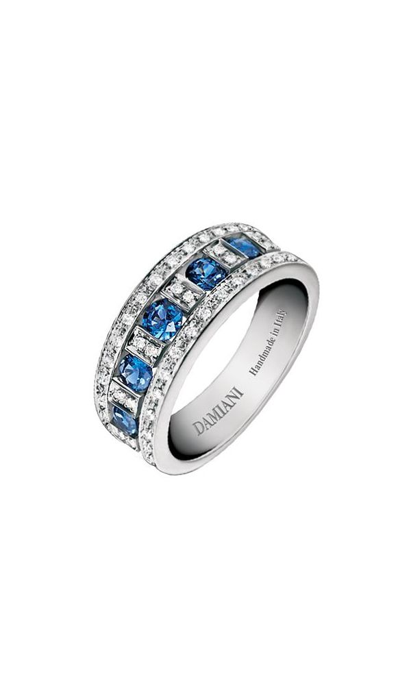 Belle Époque white gold, diamonds and sapphires ring