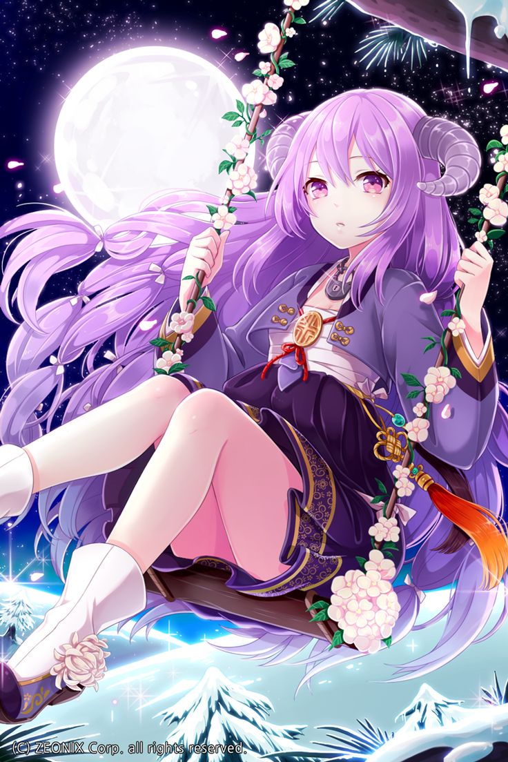 Horns Purple Hair Moon Starry Sky Winter Ground Snow Swing