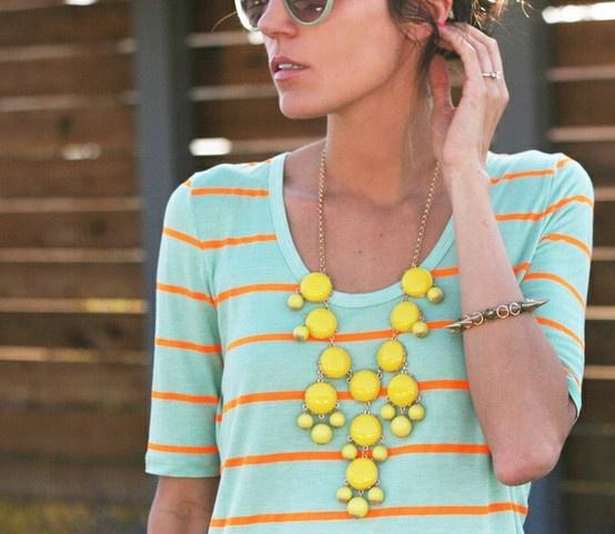 J.Crew: Colors Combos, Statement Necklaces, Yellow Necklaces, Summer Outfits, Jcrew, Bubbles Necklaces, Summer Colors, Bright Colors, Summer Clothing