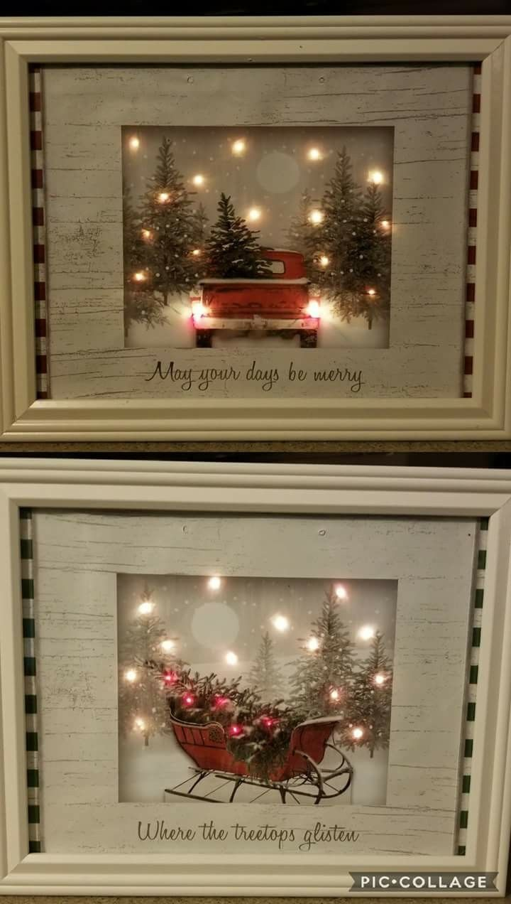 Pictures made by a craft artist with dollar store gift bags, battery LED lights, and frames