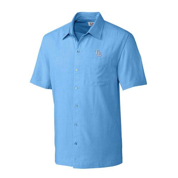 Tampa Bay Rays Cutter & Buck Solana Check Camp Button-Up Shirt - Light Blue - $68.99