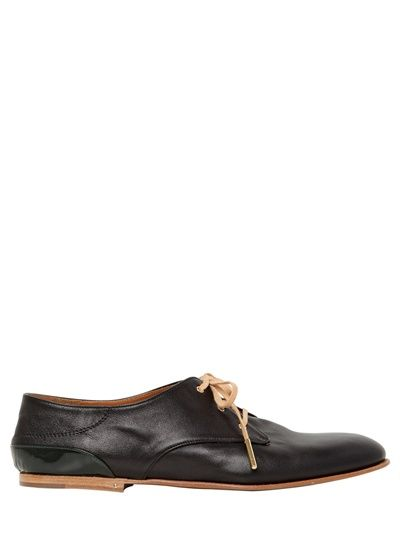 CHLOE' / 10MM BRUSHED NAPPA LEATHER LACE-UP SHOES