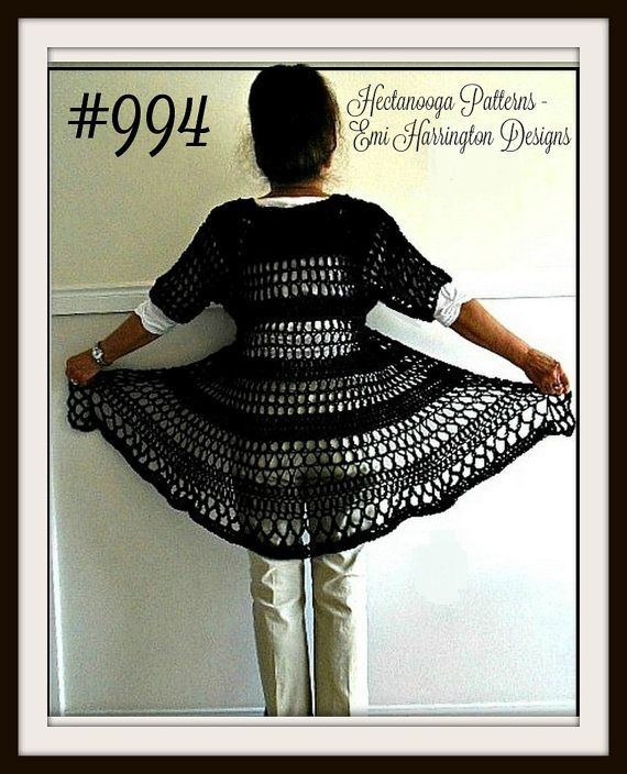 Long Black Vest, Crochet PATTERN- Vest pattern for women, teens- Chest 30-60 inch, Oversize -  shrug cardigan sweater shawl,#994