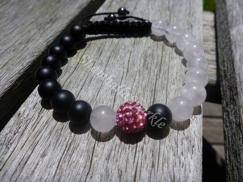 Yin Yang Rose Quartz and Matte Black Agate Shambala Bracelet