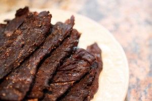 Paleo Oven Beef Jerky (Tip:  Tell the butcher you're going to make jerky with it and they'll slice it for you and it's all the same thickness and saves you time.)
