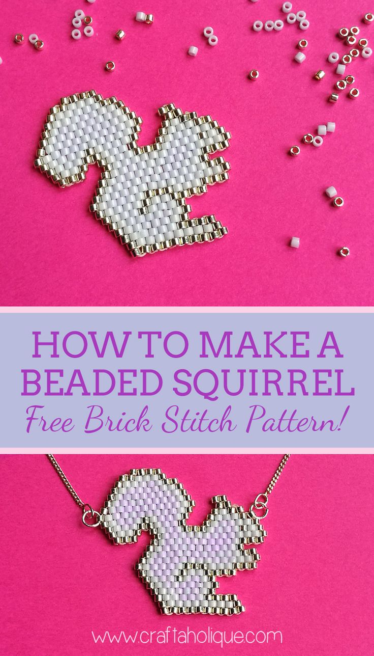 How to make a beaded squirrel using the brick stitch beadweaving technique! Free pattern for you to use in your beading or autumn craft projects.