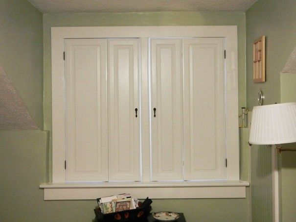 Raised Panel Shutters Closed Two Different Sizes Of