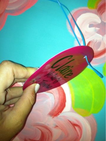 Melting solo cups for durable name tags!! Totally doing this!!