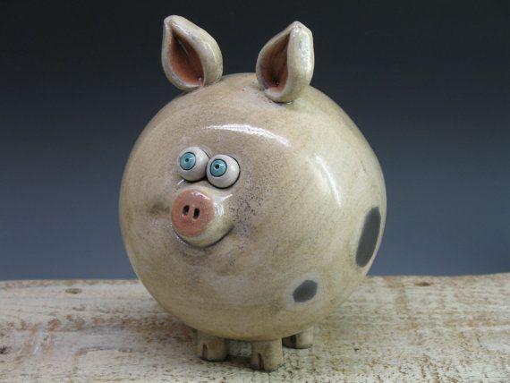 Piggy Bank  Hand made Ceramic Pig  Raku Pottery by by Heidishoppe