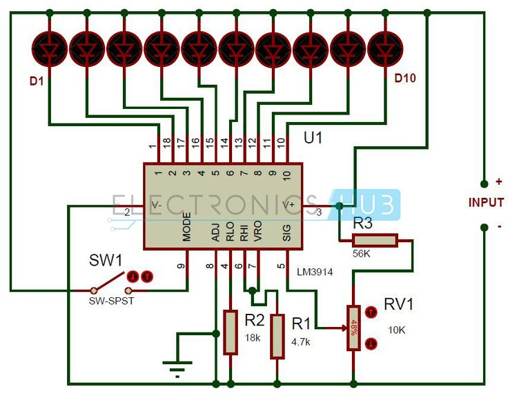 554a39157f8630d55a09414a0eaf48df battery indicator circuit diagram battery level indicator circuit using lm3914 circuit diagram  at gsmportal.co