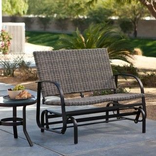 Terrace Living Beachwood Wicker Double Glider - contemporary - outdoor stools and benches - by Hayneedle