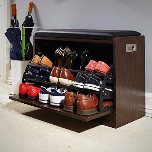 Shoe Storage Ottoman Bench 12 Pairs Organiser Seat Hallway Entryway Bedroom New