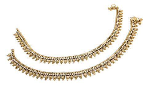 Indian Bollywood Gold Tone Flower Anklet Ruby Chain Payal Bridal Ethnic Jewelry