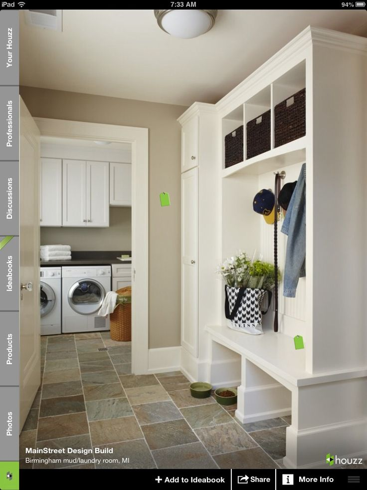 Mud Room With Open Storage Closed In Closets For Coats