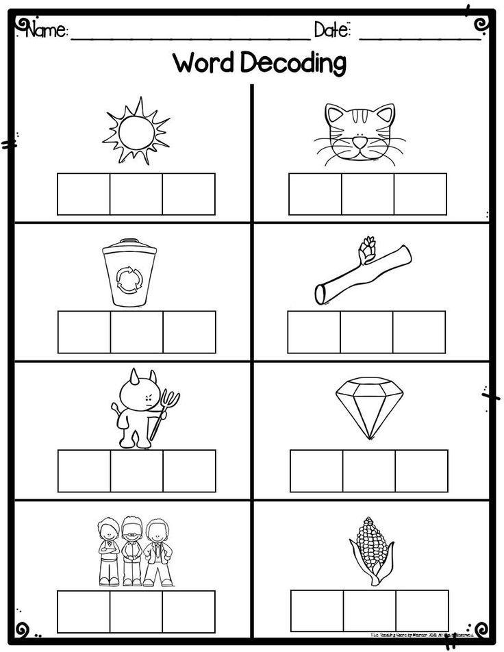 Kindergarten Word Decoding Practice Worksheets Assessments Kindergarten Worksheets Kindergarten Math Worksheets Kindergarten Worksheets Sight Words Decoding worksheets for 1st grade