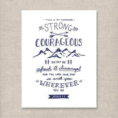 Be Strong Joshua 1:9 Navy  Christian art print  by KSMDesignShop