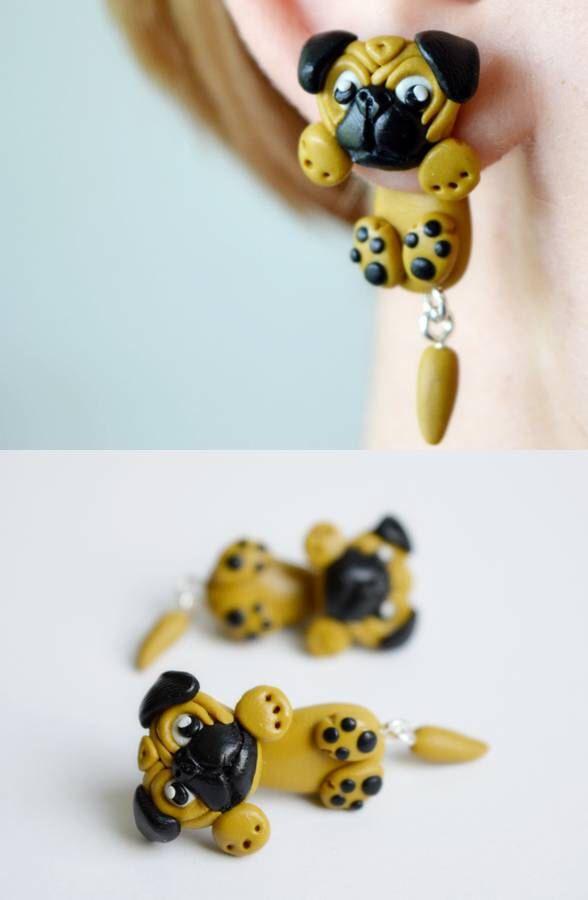 Pug earrings,dog double sided earrings,animal ear jackets,pet front back cuff,two part dangling,clinging earring,two piece crawler,faux plug by JEWELRYandPLEASURE on Etsy https://www.etsy.com/listing/232223293/pug-earringsdog-double-sided