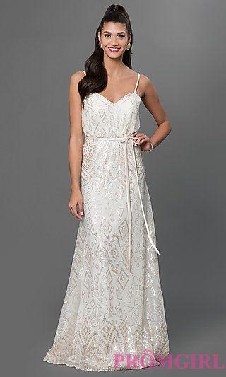 Sequin Embellished Floor Length Dress by Mori Lee at PromGirl.com