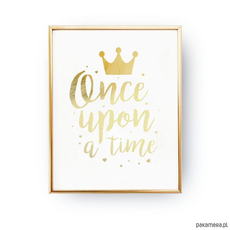 dodatki - plakaty, ilustracje, obrazy - grafika-Once Upon a Time,  Złota typografia
