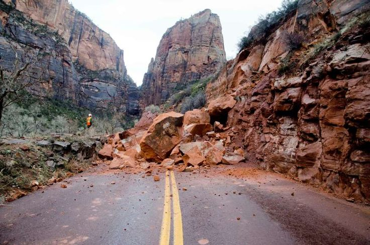 In this Saturday, Jan. 15, 2017, photo released by the National Park Service shows the Zion Scenic Drive closed just north of the Zion Lodge at Zion National Park, Utah. Nobody was injured…