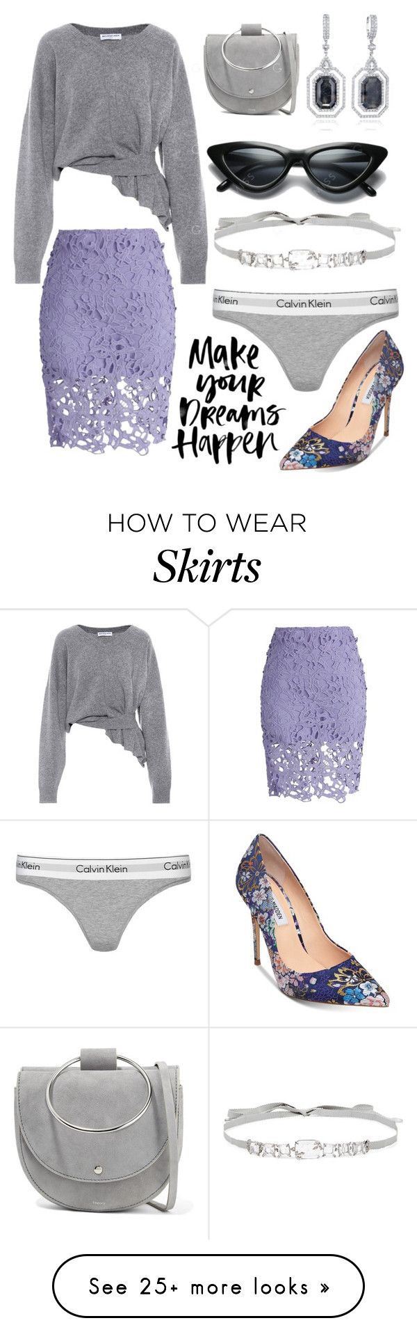 """""""Crochet Lace Skirt"""" by jakenpink on Polyvore featuring Balenciaga, Chicwish, Theory, Jenny Packham, Calvin Klein and Steve Madden"""
