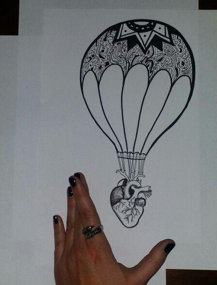 #heart #ballon #sketch #fly #freedom