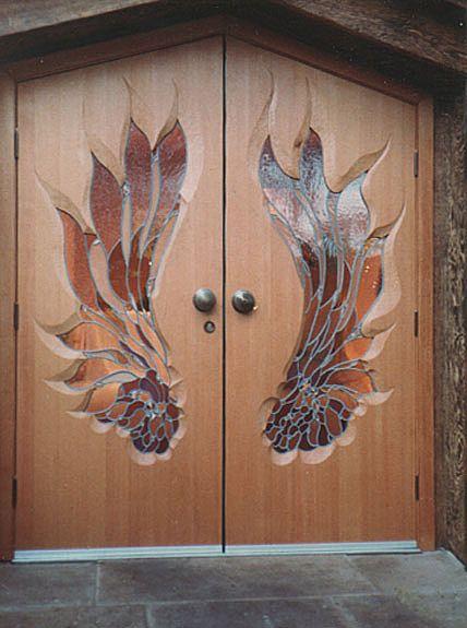 Main Entrance Doors, Universal Hall, Findhorn Foundation, Scotland, United Kingdom.