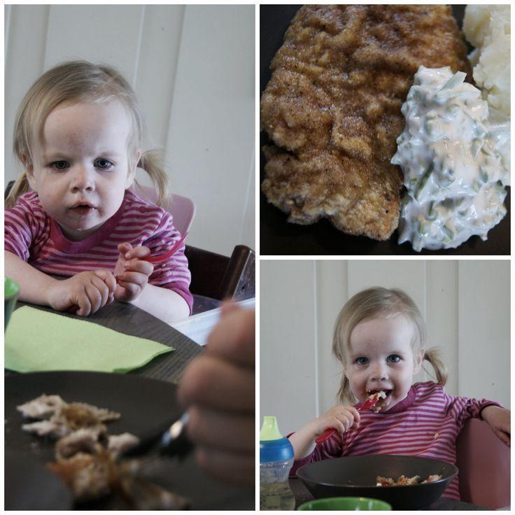 Familiemat – Svineschnitzel med ertedip og potetmos