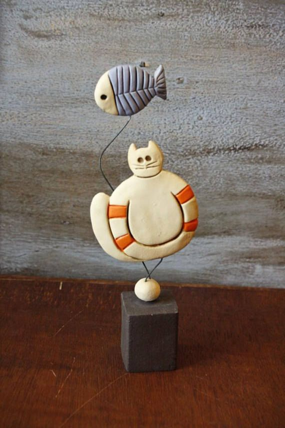 Handmade ceramic cat pottery cat for cat lovers ceramic