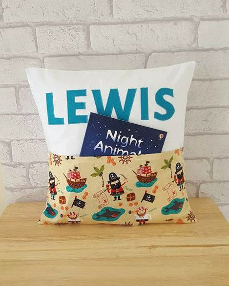 Children's Pirate Cushion with Pocket~Personalised Pocket Pillow for Books and Soft Toys~Kid's Bedroom Cushion~Present for Boys and Girls by ElizaGraceUK on Etsy